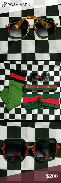 🎁Gucci Glasses 🎁 Glasses are very nice❤no scratches  Check out other goodies in my closet  ✔Socks $25 ✔ Bee headband $25 ✔Thick Headband Green & Red $30 Gucci Accessories Glasses