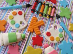Art party cake toppers by Lynlee's Petite Cakes, via Flickr