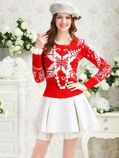 Morpheus Boutique  - Red Holiday Pattern Lovely Long Sleeve Top Sweater