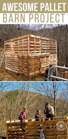 Awesome Pallet Barn Project This barn would be great for animals or to store stuff. Heck, you could even make a room or an office in one if you wanted too Free Pallets, Old Pallets, Recycled Pallets, Wooden Pallets, Wooden Diy, Pallet Benches, Pallet Couch, Pallet Tables, Diy Pallet Projects