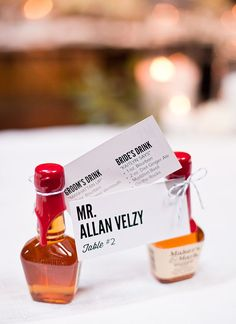 Maker's Mark seating cards with the Bride and Groom's favorite drinks printed on the back  Photography by anniemcelwain.com/book/i/, Coordination, Design   Florals by bashplease.com/