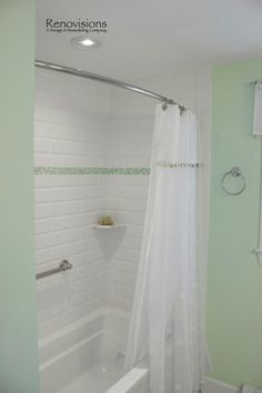 Beautiful Sea Foam Green And White Shower With Cut Sea Glass Mosaics And Curved  Shower Rod