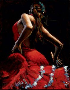 Dancer In Red With White By Fabian Perez - Arthouse Gallery