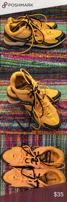 Saucony Kilkenny sporty shoe- new! Super sweet Saucony Kilkenny X2C sport shoe. New and never worn. Yellow nylon with black vinyl detailing. Gorgeous! Dual shoelaces- yellow and black. Shoes could be worn with both shoelaces or just one or the other at a time.  I bought at an outlet for $41. See marking on sole- no other discount markings on shoe. No actual tags but have plastic tag holder still attached as per photos.  Style 1946-2. Saucony Shoes Athletic Shoes
