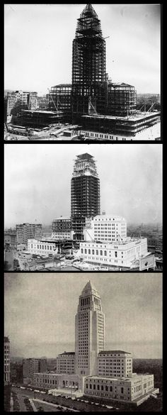 "The totally awesome Los Angeles City Hall during and after construction (1926 - 1928). ""Murder at Eastern Columbia,"" a James Murray mystery, by Christopher Geoffrey McPherson."