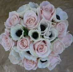 Rose and anemone wedding bouquet