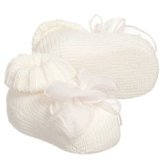 ALETTA Baby Girls Ivory Bootees with Pink Bow