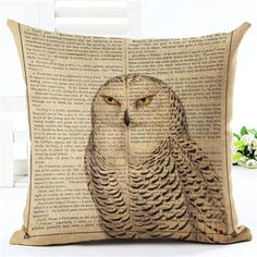 New Arrival Throw Pillow Cushion Home Decor Couch Newspaper With Owl Printed Linen Cuscino Square Cojines Almohadas Rustic Decorative Pillows, Decorative Pillow Cases, Throw Pillow Covers, Throw Pillows, Textiles, Owl House, Owl Print, Printed Linen, Rustic Design