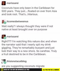 The history of migrating coconuts  funny pics, funny gifs, funny videos, funny memes, funny jokes. LOL Pics app is for iOS, Android, iPhone, iPod, iPad, Tablet