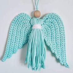 @DLThandmade #madewithlove #homedecor- crochet angel wings- size 30 cm - cotton yarn & wood Angel Wings, Tassel Necklace, Crafty, Crochet, Wood, Cotton, Handmade, Home Decor, Crochet Hooks