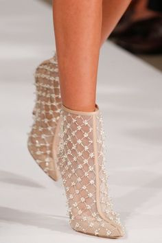Oscar de la Renta 2014 | Elegant romantic booties. Perfect for weddings if the bride isn't wearing traditional white. Perfect for vintage attire as well.