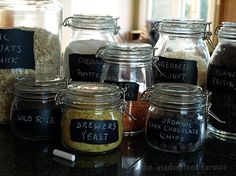 Making Simple, Reusable Chalk Labels With Chalkboard Paint Chalk Labels, Chalkboard Labels, Jar Labels, Chalkboard Ideas, Glass Storage Jars, Glass Canisters, Glass Jars, Pantry Storage, Kitchen Storage