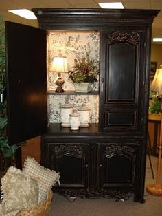 repurposed Armoire, paint or wallaper inside back panel