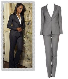 The suit is the pièce de résistance of power dressing and no one illustrates that better than Olivia Pope. She injects modernity into the workwear staple by knixing boxy forms in favor of feminine cuts and immaculate tailoring. Channel your inner gladiator at the office by sporting a commanding pantsuit — preferably one with a shawl collar jacket. Tagliatore Women's Suit, $426; yoox.com.   - MarieClaire.com