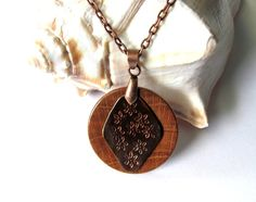 Wooden Jewelry Hand Stamped Copper Necklace Handmade by Hendywood, $25.00