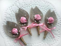 Set of 4-PINK Flower burlap Boutonniere (buttonhole)