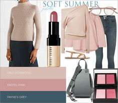 Pale Dogwood and Payne's Gray are almost inverted partners, so this combination is very elegant! Soft Summer Color Palette, Summer Colors, Seasonal Color Analysis, 2015 Fashion Trends, Fashion Forms, Soft Autumn, Summer Skin, Season Colors, Girly Things