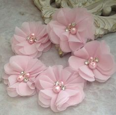 Chiffon flowers pearl and rhinestone flowers headband flowers fabric flowers material flowers lace flowers supply flowers This lot of five chiffon flowers is perfect for all your DIY needs. A beautiful pale pink colored chiffon is adorned with rhinestones Tulle Flowers, Cloth Flowers, Fabric Roses, Chiffon Flowers, Diy Flowers, Headband Flowers, Fabric Flower Headbands, Flower Fabric, Chiffon Fabric