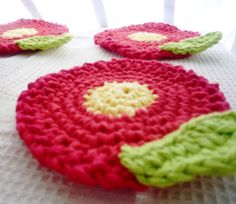 Crochet Red Flower Coasters | Flickr - Photo Sharing!