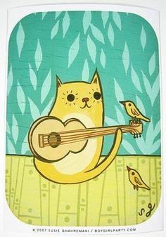 Cat Bird Art Print