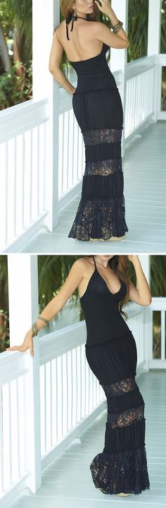 Black Lace Maxi Dress - this looks so comfy!