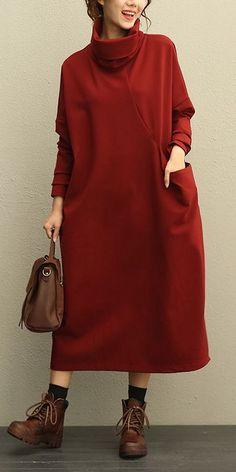 Women Casual High Neck Thicken Knitted Winter Maxi Dresses 208 Source by demirkanfulya Trendy Dresses, Nice Dresses, Casual Dresses, Casual Outfits, Maxi Dresses, Hijab Casual, Awesome Dresses, Knit Fashion, Hijab Fashion