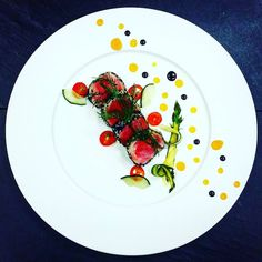 Pan seared tuna with black and white sesame seed cucumber asparagus cherry…