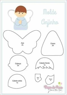 Bellow you have the template , you can do it with paper, felt or whatever you want. Felt Christmas Decorations, Felt Christmas Ornaments, Christmas Crafts, Christmas Angels, Felt Diy, Felt Crafts, Felt Angel, Felt Templates, Angel Crafts