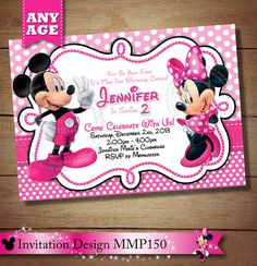 101 Best Pink Polka Dot Minnie Mouse Birthday Invitations Party