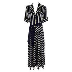 1980s Escada black & ivory silk stripe dress