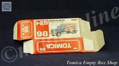 TOMICA 098B AMERICAN MIXER TRUCK | 1/98 | ORIGINAL BOX ONLY | 1988 -1993 JAPAN Mixer Truck, Auction, Trucks, Japan, The Originals, American, Box, Snare Drum, Truck
