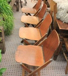 1930s Set of Four Folding Chairs / Vintage Chair / Folding Chair / Antique Wood Chair / American Seating Co