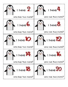 "Have, Who Has Count by Penguin Game Here's an ""I have, who has?"" game that focuses on skip counting by an ""I have, who has?"" game that focuses on skip counting by Numbers Kindergarten, Math Numbers, Preschool Math, Math Work, Fun Math, Math Games, Skip Counting By 2, Skip Counting Activities, Math Activities"