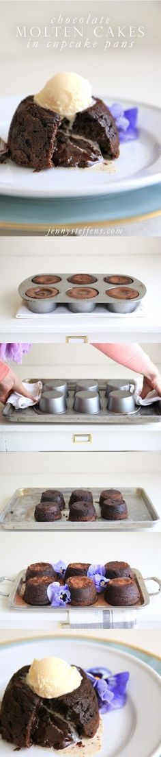 Easy Chocolate Molten Cakes in a Cupcake Pan!