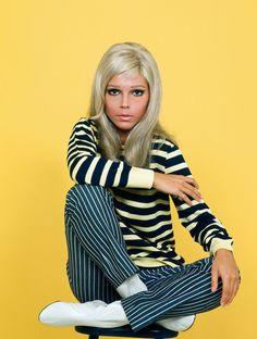Vintage   iconic fashion moments   Nancy Sinatra   photo portrait sixties   sixties fashion   stripes @monstylepin