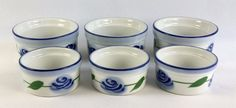 Set of 6 BIA Blanc De Table Ramekin Creme Brulee Custard Cups Blue Rose France #BIA