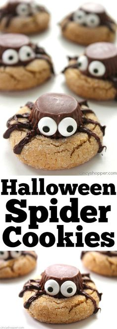 Halloween Spider Cookies s- perfect party treat. We start with a simple peanut butter blossom cookie, top it with a Reese's Miniature, add on some eyes and some legs. Halloween Desserts, Halloween Cupcakes, Soirée Halloween, Hallowen Food, Halloween Food For Party, Holiday Desserts, Holiday Baking, Holiday Treats, Halloween Treats