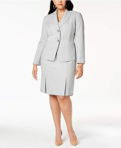 0ce4fdc3749 Le Suit Plus Size Herringbone-Print Skirt Suit   Reviews - Wear to Work -  Women - Macy s