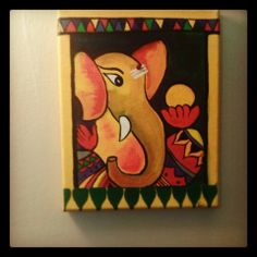 Canvas Painting - Ganesha. Lord Ganesha is one of the most celebrated Hindu God is one of my favorites too.