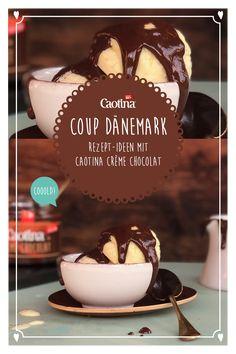 Mit der Caotina Crème Chocolat kreierst du in 2 Minuten eine unwiderstehliche Schokoladensauce, die nicht nur deine Vanille-Glace, sondern auch dich dahin schmelzen lässt. Zubereitung Einfach Caotina Crème Chocolat mit siedend heissem Vollrahm verrühren. Die Schoggi-Crème über Vanille-Glacé giessen und fertig ist der Coup Dänemark mit echter Schweizer Schoggi. Creme, Food Hacks, Panna Cotta, Ethnic Recipes, Desserts, Muffins, Chocolate Cream, Food Tips, Denmark