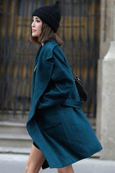 petrol coat (by romwe)