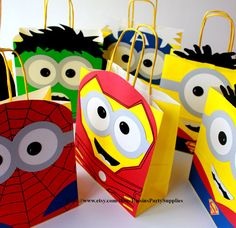 Minion Superheroes favor bags inspired birthday party