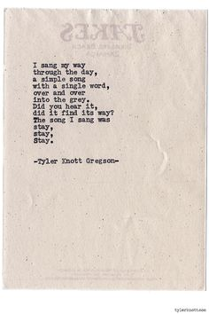 Typewriter Series #777 by Tyler Knott Gregson