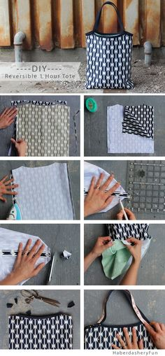 DIY.. Reversible 1 Hour Tote. Free PDF pattern. Great back to roll up and take anywhere.