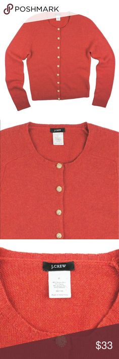 """JCREW Heather Flame Cardigan Sweater Excellent condition! This Heather orangey red Cardigan from JCREW features gold tone button closures. Made of a wool blend. Measures: bust: 37"""", total length: 22"""", sleeves: 24"""" J. Crew Sweaters Cardigans"""
