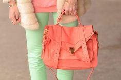 love this combo: Proenza Schouler bag, mint jeans Moda Coral, Mode Style, Style Me, Mint Pants, Green Pants, Aqua Pants, Boho Chic, Coral Fashion, Fur Fashion