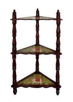 Indian Wooden Corner Table Handmade 3 Shelves Rack Decorative Showpiece Painted Furniture 37 x 16.5 x 16.5 Inch by HouseOfHandicraft on Etsy