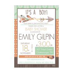Personalized Tribal Design Baby Shower Invitations and Envelopes One Dozen Printed for Baby Boys NV307 by HeadsUpGirls on Etsy