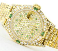 18K Gold Diamond/Emerald Pave Dial  Rolex 6917 Datejust President Bracelet Watch #Rolex #DressFormal
