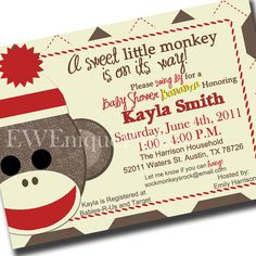 parties reserved for robert sock monkey baby shower invitations